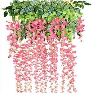 24PC Artificial Flower Garland Vine Wisteria Pink